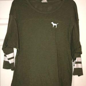 Army green 3/4 length sleeve PINK shirt